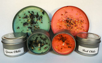 Handcrafted Green & Red Chile Scented Candles in Travel Tins
